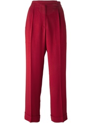 Marco De Vincenzo Cropped Front Pleat Trousers Red