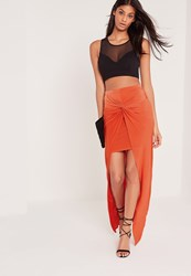 Missguided Knot Front Slinky Maxi Skirt Orange Orange