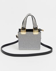 River Island Mini Tote Bag With Diamantes In Silver