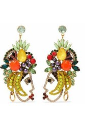 Elizabeth Cole Gold Tone Crystal And Stone Earrings Multicolor