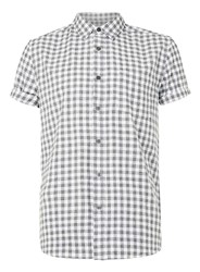 Topman Black And White Check Gingham Short Sleeve Casual Shirt