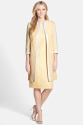 Helene Berman Jacquard And Tweed Long Coat Yellow