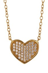 Argentovivo 18K Gold Plated Sterling Silver Pave Cz Heart Necklace Metallic
