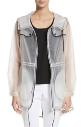 St. John 'S Collection Clear Hooded Raincoat White
