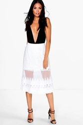 Boohoo Embroidered Tulle Lace Miid Skirt Ivory