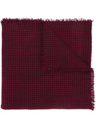 Faliero Sarti Houndstooth Woven Scarf Red