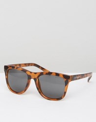 Cheap Monday Shield Sunglasses With Flat Top In Tortoise Print Brown