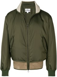 Oamc Shearling Hem Bomber Jacket Green