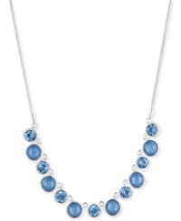 Nine West Stone And Crystal Collar Necklace Silver