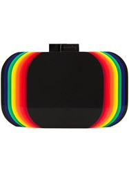 Sarah's Bag Rainbow Layered Clutch Black