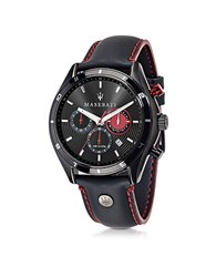 Maserati Sorpasso Black Stainless Steel Case And Leather Strap Men's Chrono Watch