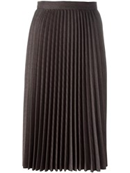 Roberto Collina Midi Pleated Skirt Brown