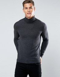 Celio Roll Neck Jumper In Grey Heather Anthracite