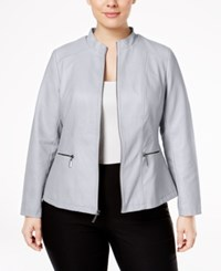 Alfani Plus Size Faux Leather Moto Jacket Only At Macy's New City Silver