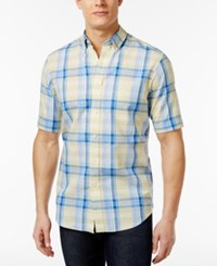 Club Room Men's Big And Tall Linen Plaid Short Sleeve Shirt Only At Macy's Magnolia