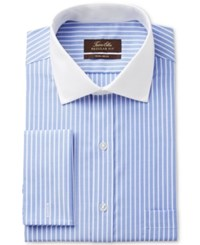 Tasso Elba Men's Classic Regular Fit Non Iron Blue Twill Bar Stripe French Cuff Dress Shirt With Contrast Collar Only At Macy's
