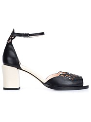 Fendi Laser Cut Sandals Black