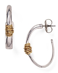Robert Lee Morris Soho Two Tone Wire Wrapped Hoop Earrings