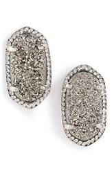 Women's Kendra Scott 'Ellie' Oval Stone Stud Earrings Platinum Drusy Silver