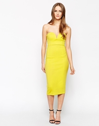 Oh My Love Body Conscious Midi Dress With Sweetheart Neckline Lime