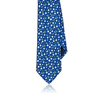 Barneys New York Men's Flower And Leaf Faille Necktie Blue
