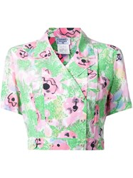 Chanel Vintage Double Breasted Floral Shirt Green