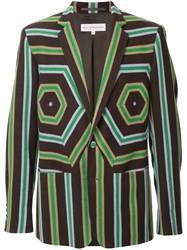 Walter Van Beirendonck Vintage Striped Panel Blazer Brown