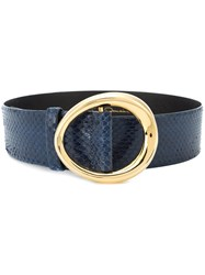 Oscar De La Renta Small Oval Buckle Belt Blue