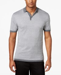 Alfani Men's Textured Striped Polo Only At Macy's Night Grey