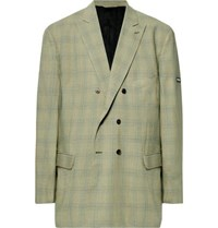 Balenciaga Green Oversized Double Breasted Checked Virgin Wool Blazer Green