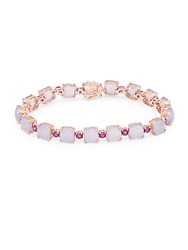 Effy Quartz Chalcedony Rhodolite And 14K Rose Gold Tennis Bracelet