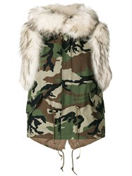 Furs66 Canvas Mini Vest Women Cotton Leather Polyester Racoon Fur 44 Green