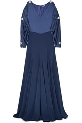 Alexis Mabille Embellished Cold Shoulder Satin Gown Navy