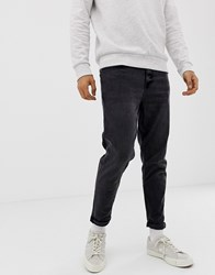New Look Tapered Jeans In Washed Black