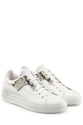 Oamc Leather Sneakers With Embossed Python Detail