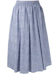 Roberto Collina Pleated Midi Skirt Blue