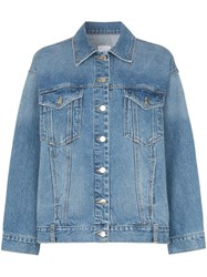 Sjyp Ripped Detail Denim Jacket Blue