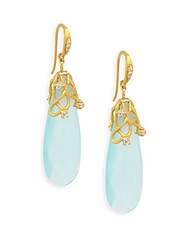 Indulgems Large Vine Aqua Chalcedony Earrings