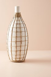 Anthropologie Wrapped Seagrass Vase Ivory