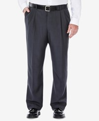 Haggar Men's Big And Tall Stria Classic Fit Eclo Double Pleated Dress Pants Med Grey