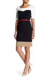 Nue By Shani Belted Colorblock Dress White