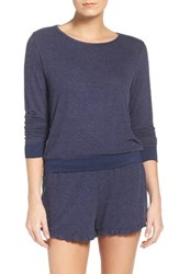 Nordstrom Women's Lingerie Summer Nights Lounge Sweatshirt Navy Peacoat