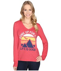 Life Is Good Come Up Air Mountains Long Sleeve Cool Vee Simply Red Women's Long Sleeve Pullover