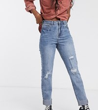 Urban Bliss Straight Leg Jeans With Rips Blue