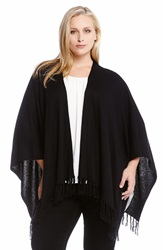 Karen Kane Fringed Cape Wrap Plus Size Black