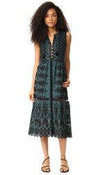 Sea Floral Eyelet Dress Green