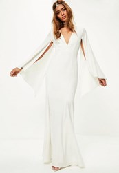 Missguided Bridal White V Plunge Cape Sleeve Maxi Dress