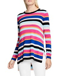 Vince Camuto Cotton Blend Long Sleeve Striped Pullover Pink