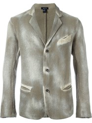 Avant Toi Distressed Knit Blazer Green