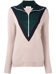 Aviu Contrast Detail Zipped Pullover Nude Neutrals
